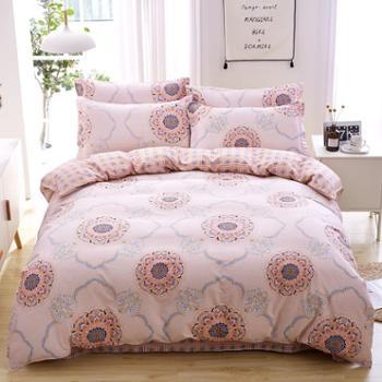 宜婴家纺纯棉四件套2018春夏全棉活性斜纹床单被套枕套床上用品1.6米1.8米2米