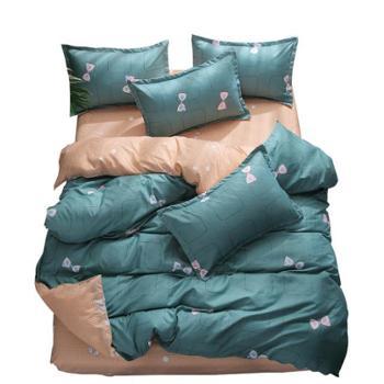 宜婴家纺乐肤棉活性印花四件套简约磨毛床单式四件套亲肤柔暖床单被罩枕套床上用品