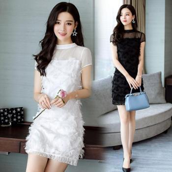 订结婚礼晚宴聚会女装小礼服短裙夏季新款白黑色连衣裙伴娘服