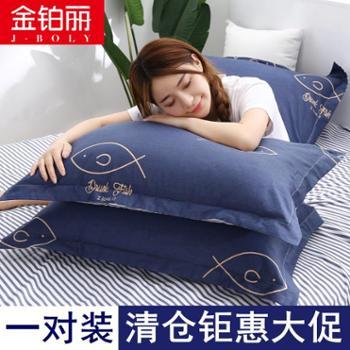 一对装】夏季纯棉枕套夏天成人枕头套大号单人枕芯套100%全棉包邮