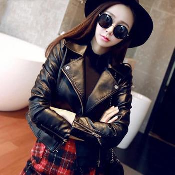 新款春秋装机车韩版PU小皮衣女士夹克短款修身高腰女外套包邮