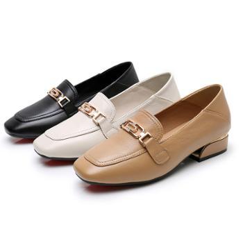 春季新款单鞋女软牛皮百搭粗跟女鞋大码英伦风小皮鞋浅口乐福鞋女