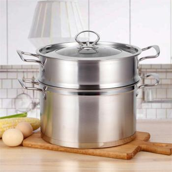 金伯乐不锈钢直角蒸锅复底无磁欧式蒸锅双层汤蒸锅礼品锅