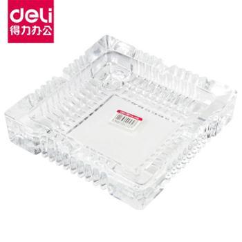 得力9577957895799580客厅办公水晶玻璃方形烟灰缸简洁大方