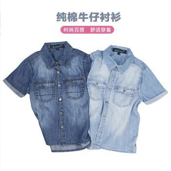 Midiross4-16岁男童休闲百搭牛仔短袖衬衫HSBJ1611001