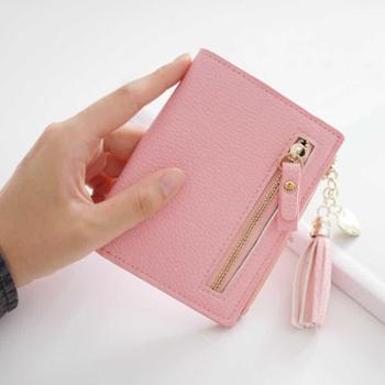 新款日韩短款钱包女士卡包小清新迷你流苏零钱包薄款学生钱夹
