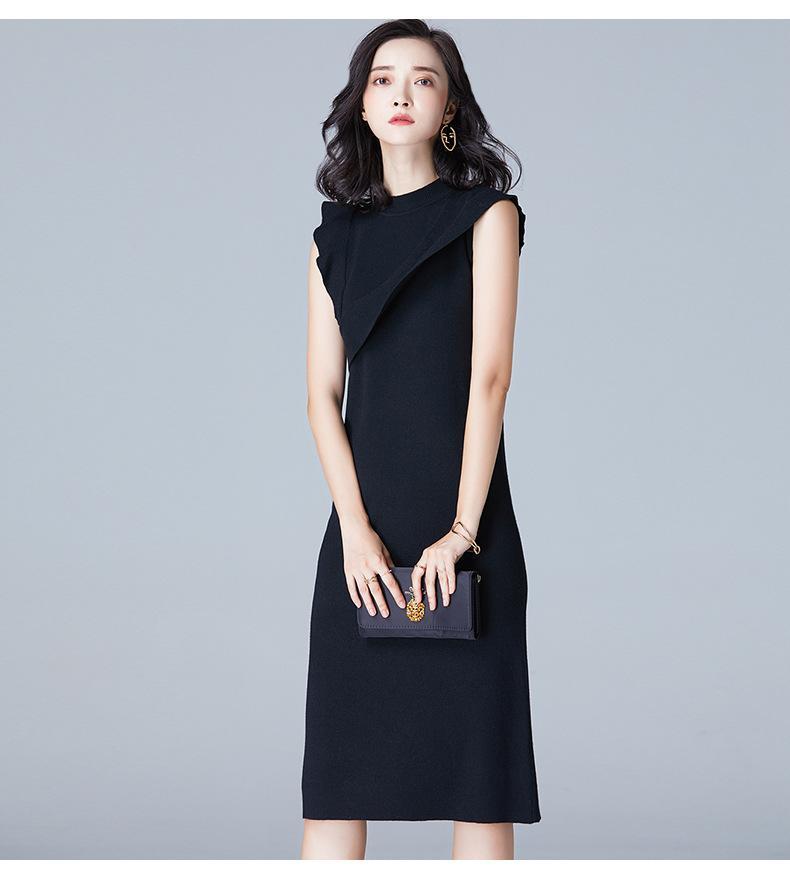 衫蝶季 气质圆领无袖修身针织衫女连衣裙