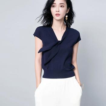 衫蝶季韩版女士套头系结优雅细腻浪漫飘带短袖针织衫