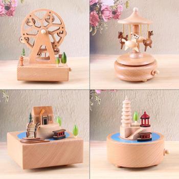 创意木制音乐盒八音盒木质工艺品手工原木制作节日礼品