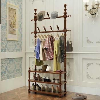 实木衣帽架卧室落地衣服架子欧式创意客厅鞋架家用简约组装挂衣架