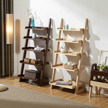 北欧实木书架现代简约落地置物架创意五层架简易靠墙书架多功能