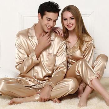 南韩丝仿真丝睡衣长袖高档丝绸香槟金色情侣睡衣套装蕾丝女睡衣