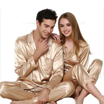 南韩仿真丝睡衣长袖高档丝绸香槟金色情侣睡衣套装蕾丝女睡衣