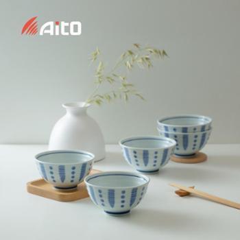 日本原产AITO美浓烧餐具餐碗 和蓝五件套