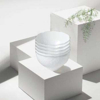 日本原产AITO美浓烧陶瓷银边碗桂由美浮雕葡萄刻花5件套