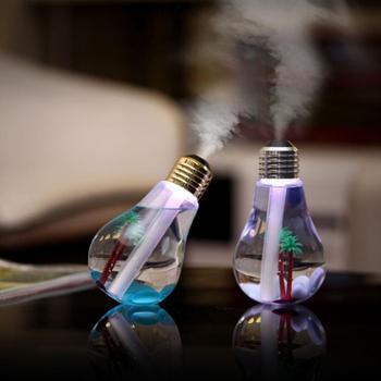 巴里空间 创意灯泡加湿器小夜灯七彩变色夜灯加湿器迷你USB办公室家用静音加湿器灯泡造型创意炫光七彩灯泡加湿器 USB充电迷你桌面LED夜灯加湿器