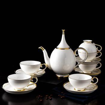 凯福森 昆顿QUINTION英式下午茶具15头咖啡具套装骨瓷简约典雅咖啡壶杯子礼盒装拉花杯