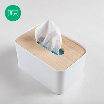 优芬简约竹木质纸巾盒创意客厅卧室纸巾抽车用抽纸盒桌面小收纳盒