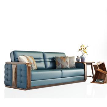 金六甲实木沙发 新中式沙发 沙发组合金丝福桃木客厅木质家具组装