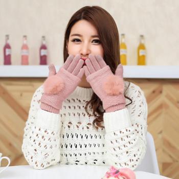 女士三用可拆卸保暖针织手套时尚触屏手套冬季触摸屏手套
