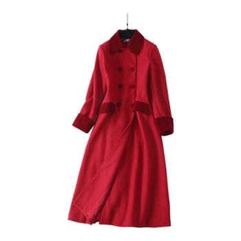 熙泊雅冬季女装红色修身大衣加长款时尚外套7078