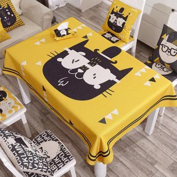 【包邮】加厚桌布布艺 棉麻圆桌桌布防烫茶几长方形桌布卡通餐厅台布原创