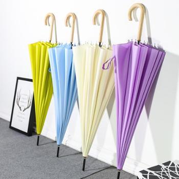 【包邮】沐笙日本文艺自动伞16骨木弯柄长柄直杆伞户外遮阳伞防风雨伞