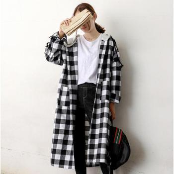 韩版学院风2018秋季爆款女装休闲连帽宽松长款长袖格子衬衫外套女