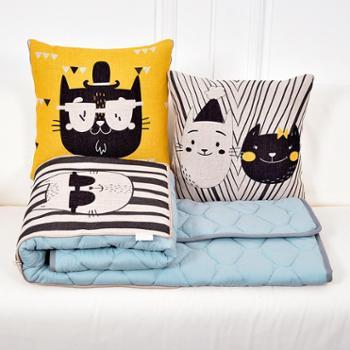 卡特猫一家棉麻水洗棉抱枕被子两用汽车沙发腰靠腰枕靠垫抱枕被
