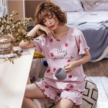 睡衣女夏纯棉短袖短裤甜美可爱韩版草莓全棉家居服可外穿两件套装