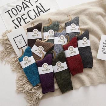【5双装】情侣堆堆袜 秋冬新款粗线中筒袜子百搭男女学生袜民族风袜子