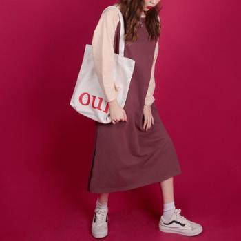 2019新款女装春季针织韩国连衣裙 字母印花下开叉圆领长款T恤