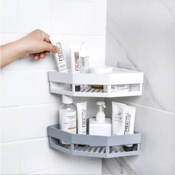 【2个装】免打孔转角置物架卫生间洗漱架 浴室无痕壁挂三角架收纳架