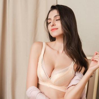 伈玲蕾丝无钢圈文胸一片式无痕舒适聚拢内衣收副乳调整型文胸