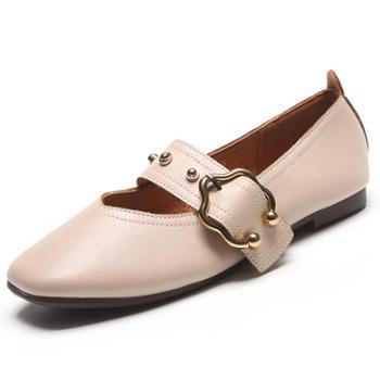 平底单鞋女2019春新款韩版奶奶鞋软皮浅口学生豆豆鞋方头玛丽珍鞋