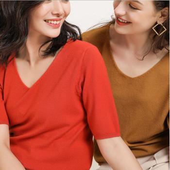 2019春夏新款短袖针织衫纯色内搭打底时尚V领韩版百搭宽松薄款上衣T恤女
