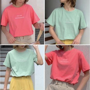 甜酷系列圆领精致mini印字T恤19夏百搭多色短袖韩版上衣