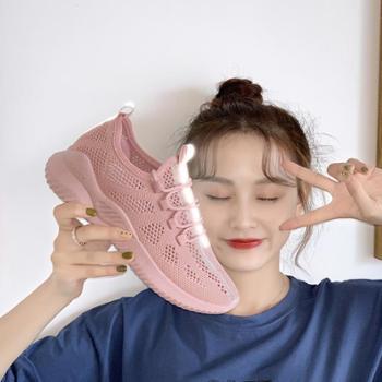 袜子鞋女2019夏季新款透气飞织运动鞋女学生老爹鞋韩版百搭小白鞋