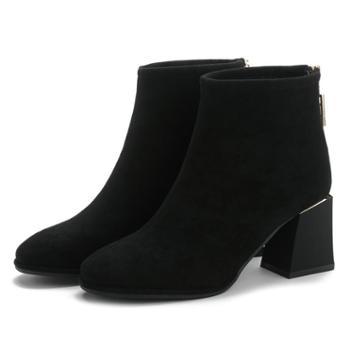 马丁靴女短筒新款秋冬韩版磨砂皮后拉链粗跟靴子高跟短靴女