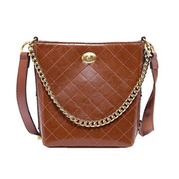 包包女韩版网红流浪包真皮水桶包简菱格油蜡皮单肩斜挎包