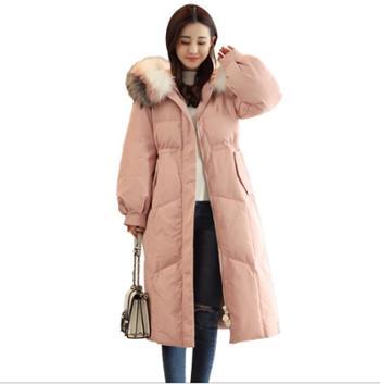 粉色棉衣中长款韩版女装冬季款加厚羽绒棉服大毛领棉袄过膝