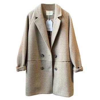 【言双】毛呢外套女秋冬款宽松中长款夹棉呢大衣西装