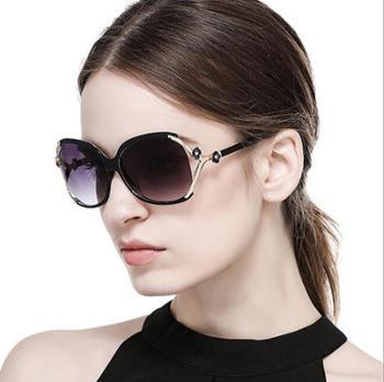 珂盾时尚山茶花太阳镜镂空点漆玫瑰花墨镜百搭大框女士太阳眼镜