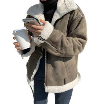 Hooozen鹿皮绒复合加绒机车服冬季韩版保暖羊羔毛外套女
