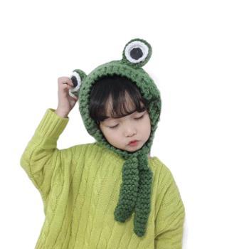 秋冬季毛线护耳帽子儿童成人青蛙针织帽可爱系带软妹子发带耳罩帽