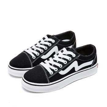 秋季韩版小黑帆布女鞋潮学生布鞋百搭ins街拍小白鞋板鞋