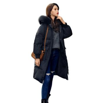 羽绒服女中长款冬季修身显瘦外套时尚韩版大毛领气质女装9809