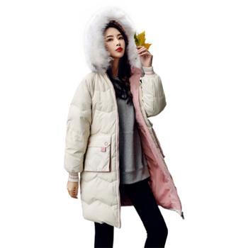 中长款羽绒服女时尚韩版加厚大毛领女装冬季修身显瘦外套9803