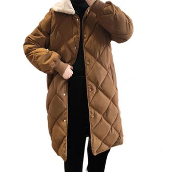 鹿西 菱形格棉服女中长款韩版宽松秋冬新款毛领面包服外套935
