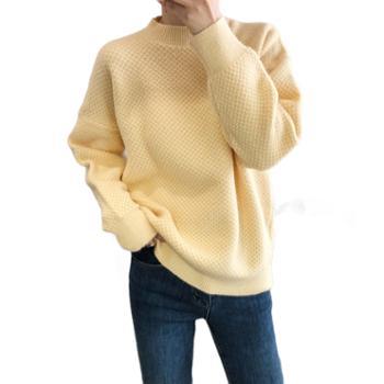鹿西秋冬外穿菠萝纹毛衣女士韩版宽松加厚套头圆领学院风上衣ss71